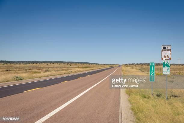 Long desert road in route 66