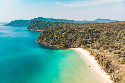 Long deserted beach with white sand and clear water. Aerial top view. Coast of island Koh Rong Samloem, Cambodia 1152326319