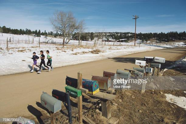 Long distance marathon runner Uta Pippig of Germany during training on 21 February 1995 at Boulder Colorado United States