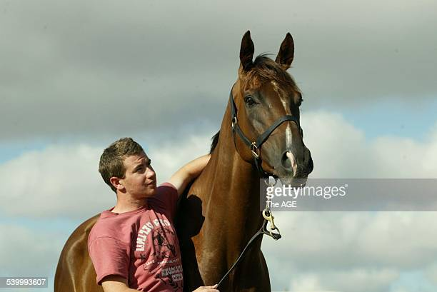 Long Distance Racehorse Tubular Bells pictured with his trainer Andrew Payne near Ballarat Racecourse 10th March 2006 THE AGE SPORT Picture by NICOLE...