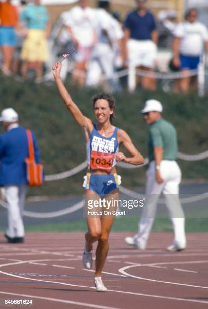 Long Distance runner Mary Decker of the United States celebrates after winning a race at the 1988 Olympics Trials circa 1988 at IU Michael A Carroll...