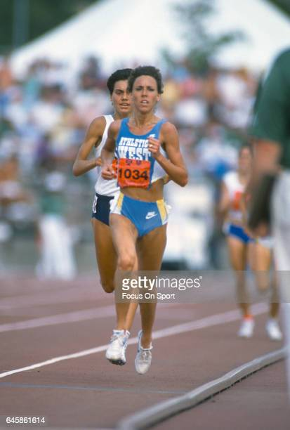 Long Distance runner Mary Decker of the United States competes at the 1988 Olympics Trials circa 1988 at IU Michael A Carroll Track and Soccer...