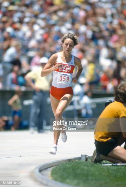 Long Distance runner Mary Decker of the United States competes in a track and field long distance event circa 1988