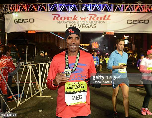 Long distance runner Meb Keflezighi at the finish line of the GEICO Rock 'n' Roll Las Vegas marathon and 1/2 marathon on November 15 2015 in Las...