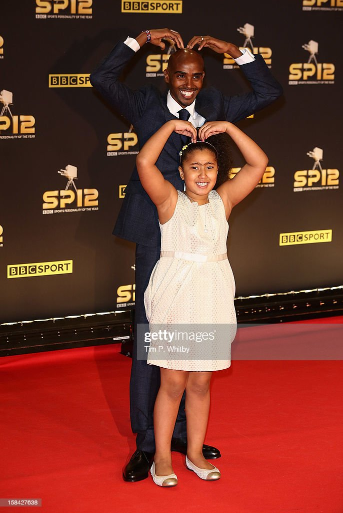 Long distance runner Mo Farah and daughter Rihanna attend the BBC Sports Personality of the Year Awards at ExCeL on December 16, 2012 in London, England.
