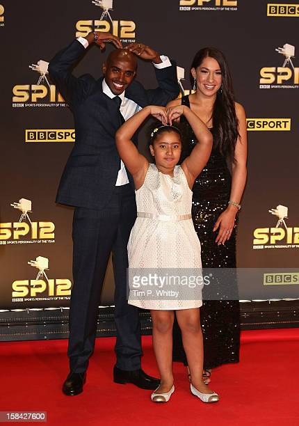 Long distance runner Mo Farah wife Tania and daughter Rihanna attend the BBC Sports Personality of the Year Awards at ExCeL on December 16 2012 in...