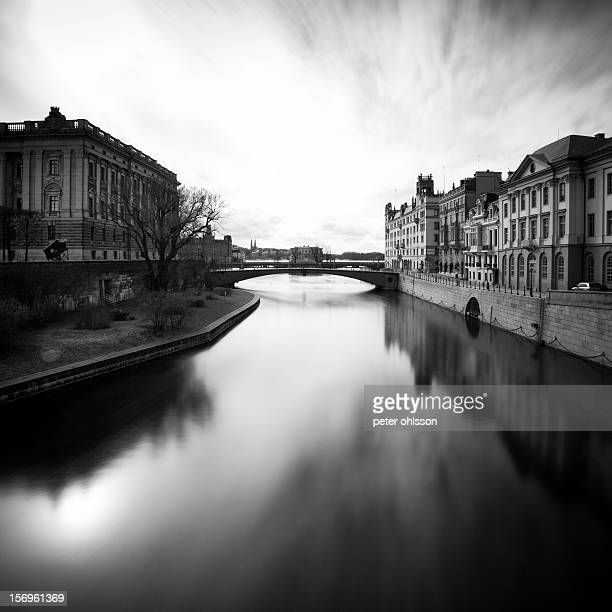 long exposure cityscape of stockholm stream in Sweden
