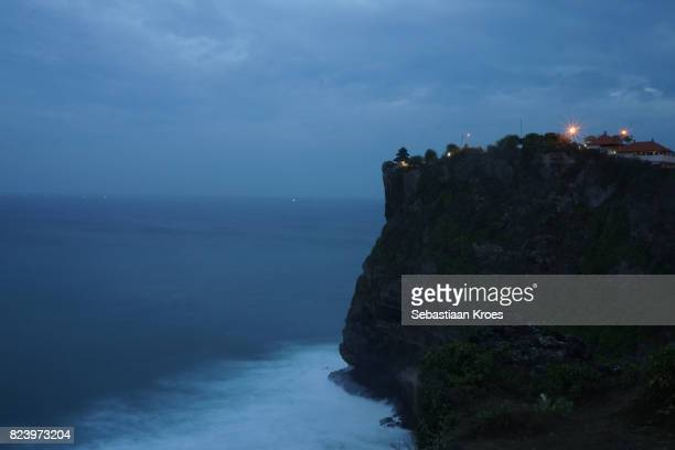 Long Exposure, Cliff and Temple at Uluwata, Dusk, Bali, Indonesia