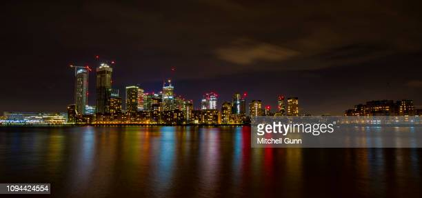 A long exposure general view of the Isle of Dogs with Canary Wharf and River Thames on December 29 2018 in London United Kingdom