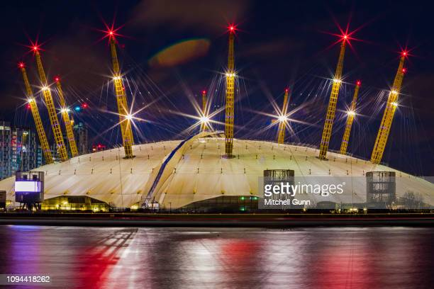 A long exposure general view of the O2 Arena and River Thames on December 29 2018 in London United Kingdom