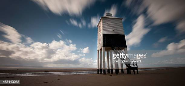 Long exposure image of the lighthouse on the beach at Burnham On Sea. The lighthouse guides ships up the Severn Estuary towards Bristol and Avon...