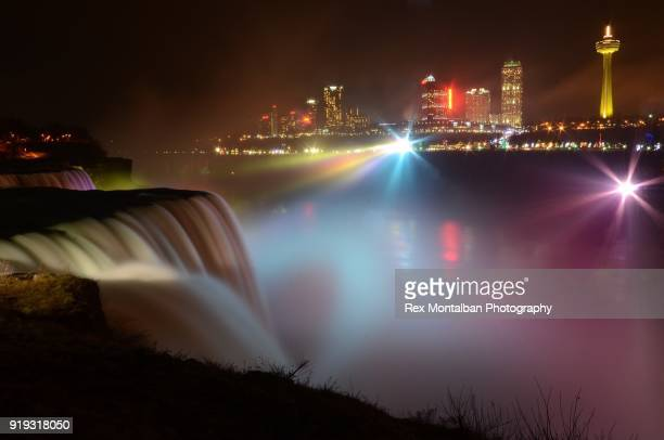 long exposure night time view of niagara falls canada - niagara river stock pictures, royalty-free photos & images