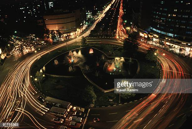 A long exposure nighttime view of Vali Asr square in Tehran October 1993