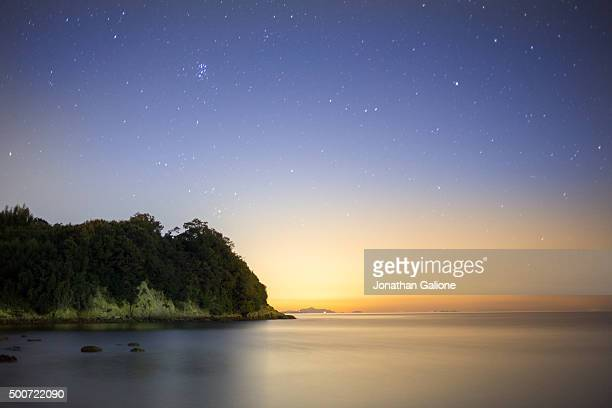 Long exposure of a beach at night