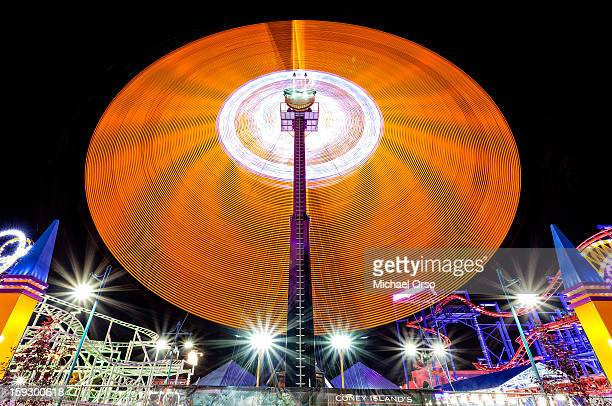 Long exposure of a spinning ride at night... Coney Island, NY
