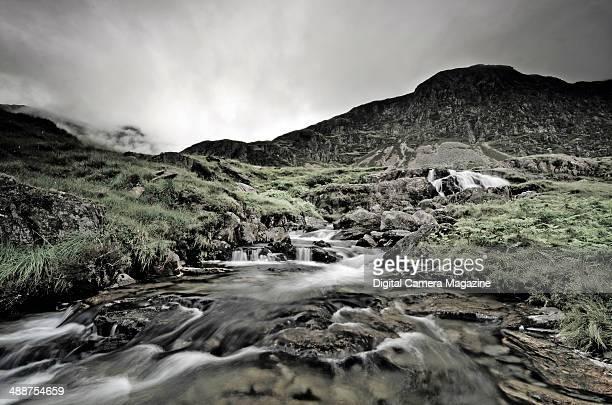 Long exposure of a stream descending a rocky mountainside taken on July 9 2012