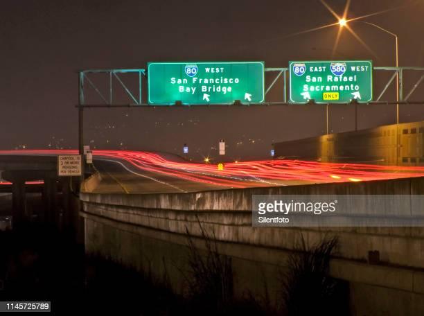 long exposure of california interstate divide at night - san rafael california stock pictures, royalty-free photos & images