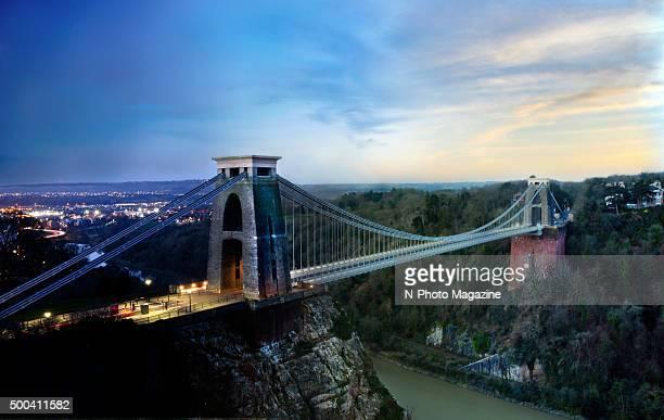 Long exposure of Clifton Suspension Bridge in Bristol at sunset taken on March 4 2015