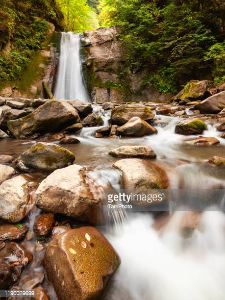 long exposure of dreamlike waterfall hidden in the hills in summer forest flowing from cliff - transylvania stock pictures, royalty-free photos & images