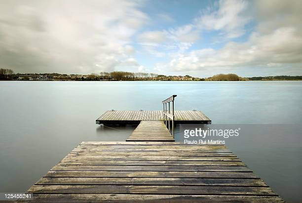 Long exposure of lake with jetty