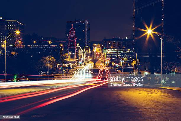 Long Exposure Of Light Trail In City