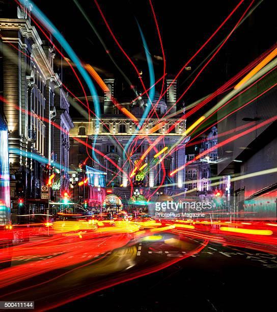 Long exposure of light trails along Regent Street in London, taken on October 21, 2014.