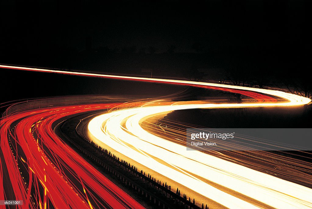 Long exposure of moving traffic : Stock Photo