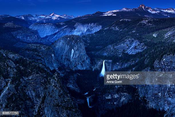Long exposure of Nevada Falls and Vernal Falls at dusk from iconic Glacier View overlook, summer