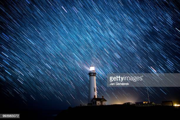 Long Exposure of Night Sky at Pigeon Point Lighthouse.