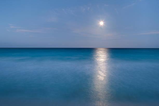 long exposure of ocean and moon