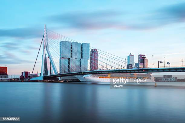 Long Exposure Of Rotterdam Harbour And Skylines At Sunset
