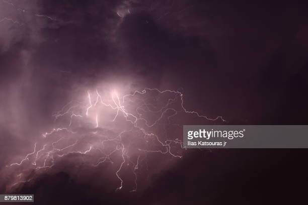 Long exposure of sky during electrical storm, lightning