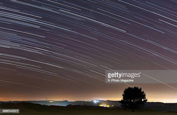 Long exposure of star light trails in the night sky, taken on December 1, 2015.