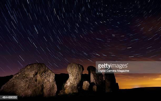 Long exposure of star trails across the night sky, taken on February 26, 2014.