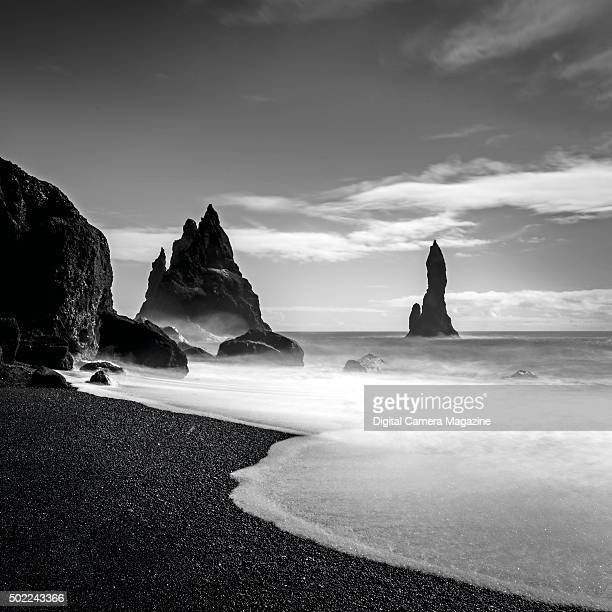 Long exposure of the Reynisdrangar sea stacks in southern Iceland on October 13 2014