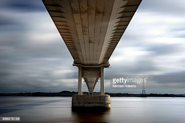Long exposure of the Severn Bridge spanning the Severn estuary and river Wye between Wales and England