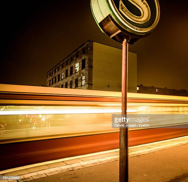 Long Exposure Of Train At Railroad Station