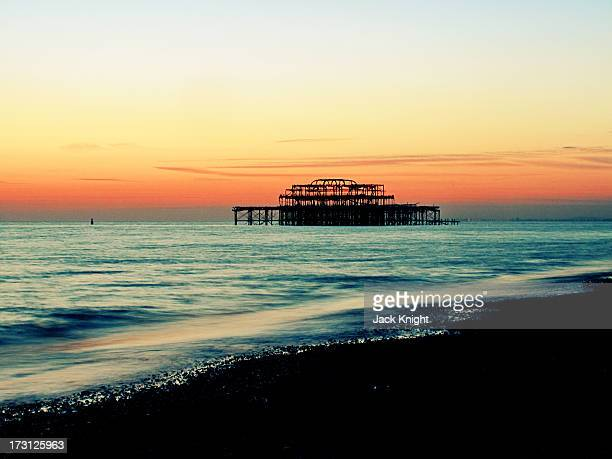 Long Exposure of West Pier - 8 second exposure with a neutral density filter. The West Pier, Brighton, England, United Kingdom. Long exposure with a...