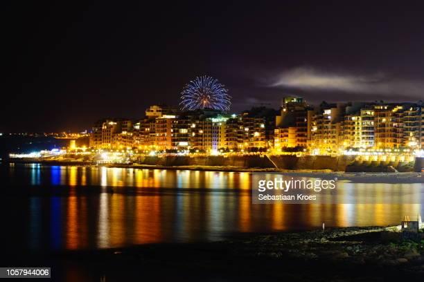 Long Exposure on Sliema Coastline at Night, Fireworks, Malta