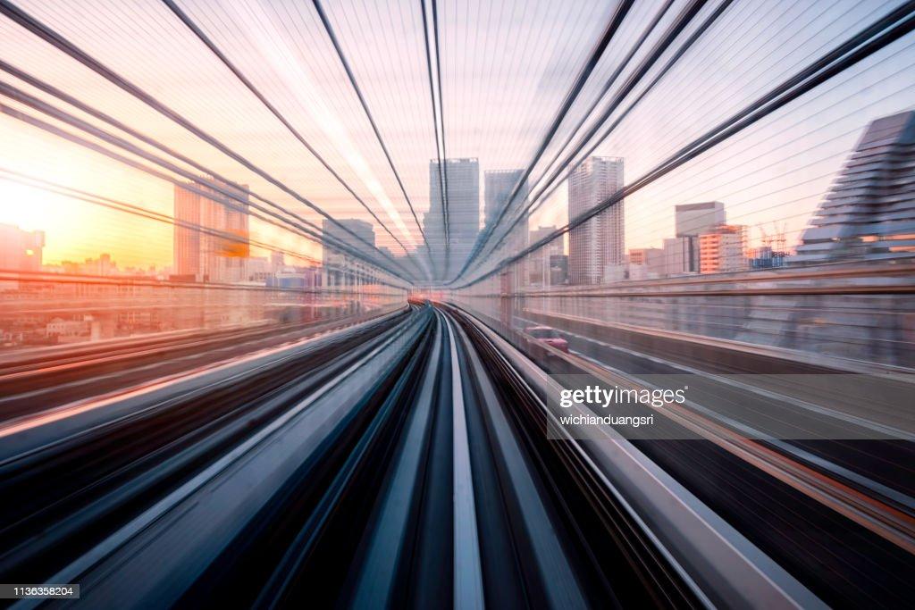 Long exposure on Tokyo train, Japan : Foto de stock