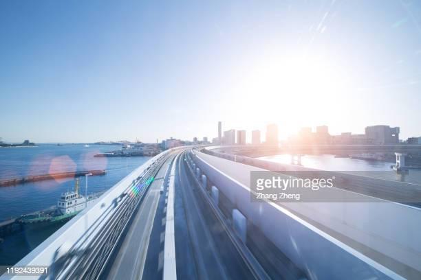 long exposure on tokyo train, japan - stock photo - 地下鉄電車 ストックフォトと画像