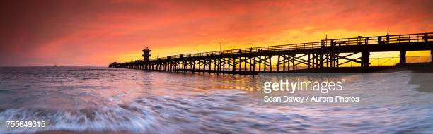 Long exposure panorama of waves and pier at seal Beach, Orange County, California, USA