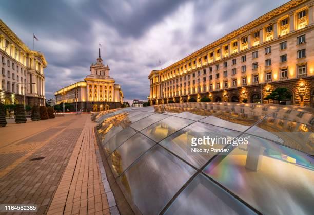 long exposure, panoramic view of downtown sofia city in bulgaria, eastern europe - creative stock image - bulgaria foto e immagini stock
