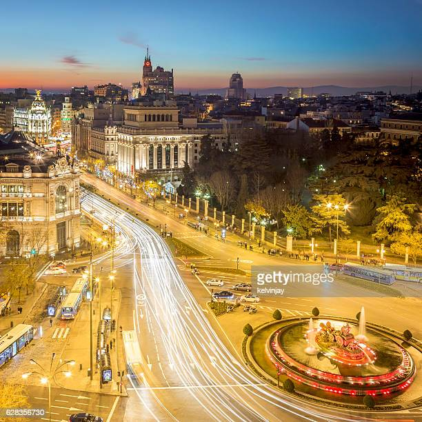 Long exposure photo of the centre of Madrid at night