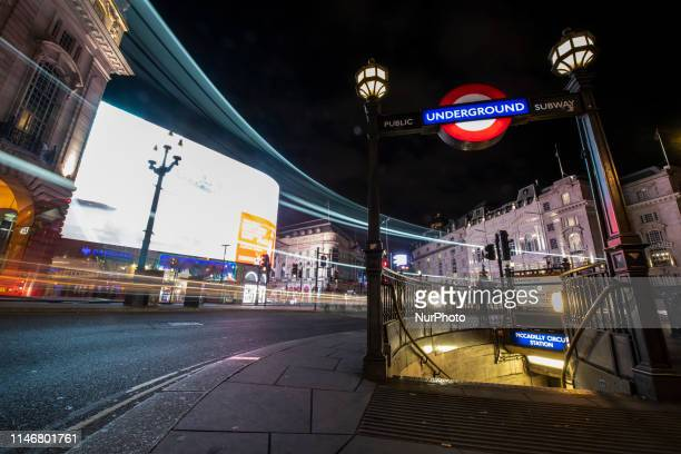A Long exposure photo showing an underground station in London United Kingdom 28 May 2019