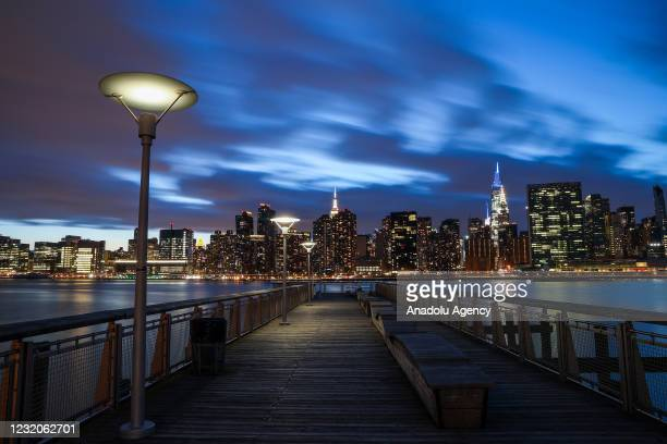 Long exposure photo shows Manhattan view during sunset in New York City, United States on April 01, 2021.