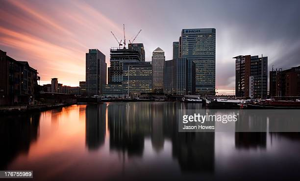 CONTENT] Long exposure photograph the skyline of skyscrapers at Canary Wharf London UK
