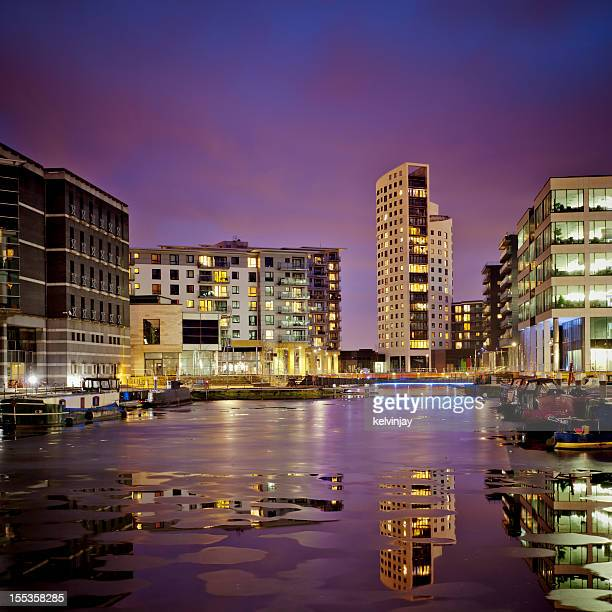 Long exposure shot showing Leeds Dock in Leeds at night