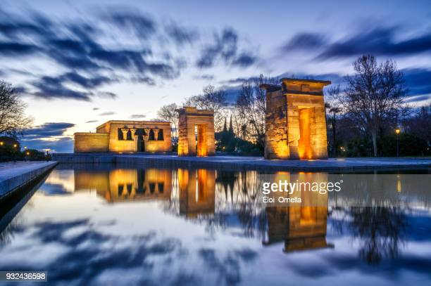 long exposure sunset view of temple of debod in city of madrid, spain - madrid stock pictures, royalty-free photos & images
