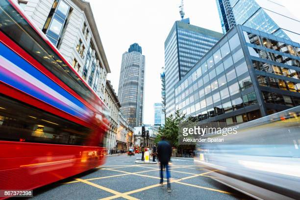 Long exposure view of a street in financial district in London, Greater London, UK